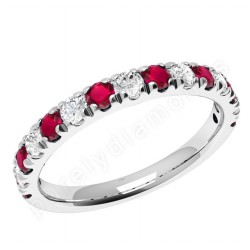 White Gold Gemstone Diamond Eternity Ring