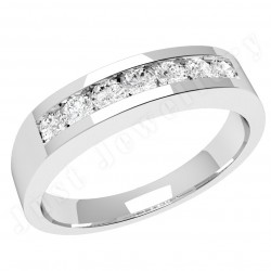 JE036W - 18ct white gold ring with 7 channel-set round diamonds