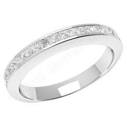 JE217PL - Platinum eternity/wedding ring with princess cut diamonds in a channel setting