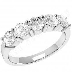 JE350PL - Platinum ring with 5 round brilliant cut diamonds in a claw setting