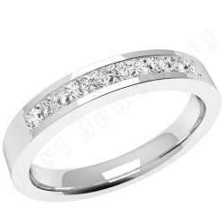JEW079W - 18ct white gold eternity/wedding ring with 9 princess cut diamonds in a channel setting