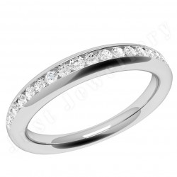 JEW080W - 18ct white gold eternity/wedding ring with 17 round diamonds in a channel-setting