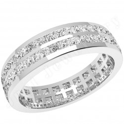 JEW082W - 18ct white gold full eternity/wedding ring with 2 rows of princess cut diamonds