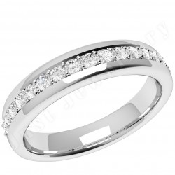 JEW084W - 18ct white gold 3.75mm court wedding ring with 17 round diamonds in a claw setting