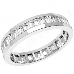JEW097PL - Platinum 4.0mm wide full eternity/wedding ring with baguette cut diamonds going all the way around.