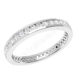 JE356/9W- 9ct white gold full eternity ring with round brilliant cut diamonds