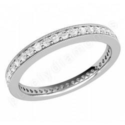 JE531/9W - 9ct white gold full eternity/wedding ring with round brilliant cut diamonds in a claw setting