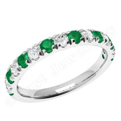 JEM166W - 18ct white gold emerald and diamond 15 stone claw set eternity ring