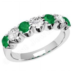 JEM244W - 18ct white gold 7 stone emerald and diamond eternity ring