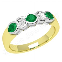 JEM278/9YW - 9ct yellow and white gold 5 stone emerald and diamond eternity ring