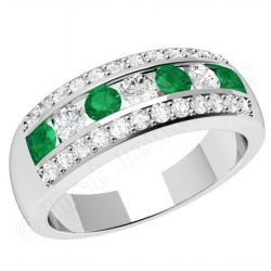 JEM332W - 18ct white gold ring with emeralds and diamonds in a channel and claw setting