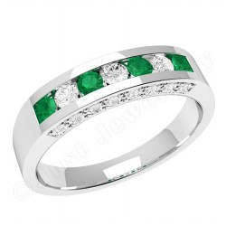 JEM342W - 18ct white gold emerald and diamond ring in a channel and claw setting