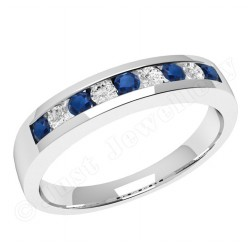 JES053W - 18ct white gold 9 stone sapphire and diamond ring