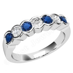 JES184W - 18ct white gold 7 stone sapphire and diamond ring