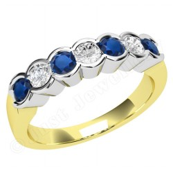 JES184YW - 18ct yellow and white gold 7 stone sapphire and diamond ring