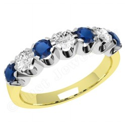 JES244YW - 18ct yellow and white gold 7 stone sapphire and diamond ring