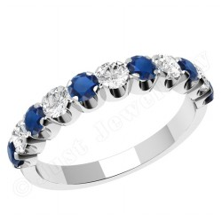 JES344W - 18ct white gold eleven stone sapphire and diamond ring