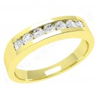 JE036Y - 18ct yellow gold ring with 7 channel-set round diamonds