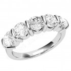 JE048PL - Platinum ring with five round diamonds in a bar-setting