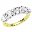 JE048YW - 18ct yellow and white gold ring with five round diamonds in a bar-setting