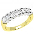 JE184/9YW - 9ct yellow and  yellow and white gold ring with 7 rub-over set round diamonds