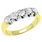 JE241/9YW - 9ct yellow and white gold ring with 5 round brilliant cut diamonds