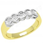 JE278/9YW - 9ct yellow and white gold ring with 5 round brilliant cut diamonds