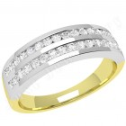 JE289YW - 18ct yellow & white gold ring with 2 rows of round brilliant cut diamonds