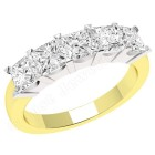 JE310YW - 18ct yellow and white gold ring with 5 princess cut diamonds in a claw setting