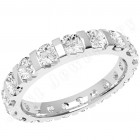 JE340W - 18ct white gold full eternity/wedding ring with round brilliant cut diamonds in a bar-setting