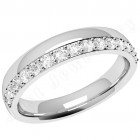 JEW070U - Palladium 3.65mm court ladies wedding ring with fifteen round brilliant cut diamonds in a claw setting