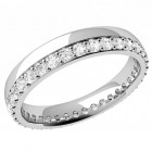 JEW071U - Palladium 3.65mm court ladies wedding ring with claw set round brilliant cut diamonds going all way around.