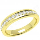 JEW084Y - 18ct yellow gold 3.75mm court wedding ring with 17 round diamonds in a claw setting