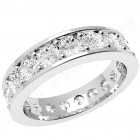JEW088PL - Platinum full eternity /wedding ring with round brilliant cut diamonds going all the way round in a claw setting.