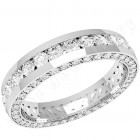 JEW094W - 18ct white gold 4.0mm full eternity/wedding ring with round brilliant cut diamonds in the centre and on the sides,  going all the way round.