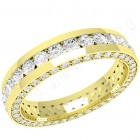 JEW094Y - 18ct yellow gold 4.0mm full eternity/wedding ring with round brilliant cut diamonds in the centre and on the sides,  going all the way round.