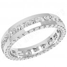 JEW095W - 18ct white gold 4.0mm full eternity/wedding ring with princess cut diamonds in the centre and round diamonds on the sides,  going all the way round.