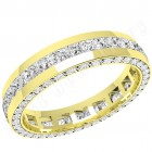 JEW095Y - 18ct yellow gold 4.0mm full eternity/wedding ring with princess cut diamonds in the centre and round diamonds on the sides,  going all the way round.