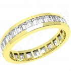 JEW097Y - 18ct yellow gold 4.0mm wide full eternity/wedding ring with baguette cut diamonds