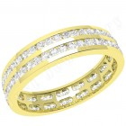 JEW098Y - 18ct yellow gold 4.0mm full eternity/wedding ring with 2 rows of round brilliant cut diamonds going all the way around.