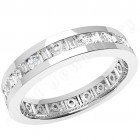 JEW102W - 18ct white gold 4.2mm full eternity/wedding ring with alternating round and baguette cut diamonds going all the way around.