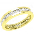 JEW102Y - 18ct yellow gold 4.2mm full eternity/wedding ring with alternating round and baguette cut diamonds going all the way around.