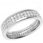 JEW108W - 18ct white gold 4.7mm wide full eternity/wedding ring with 2 rows of claw set round brilliant cut diamonds going all the way around.