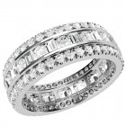 JEW131W - 18ct white gold 6.25mm wide wedding/dress ring with round brilliant and baguette cut diamonds in a channel and claw setting