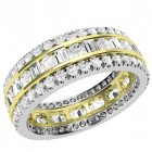 JEW131YW - 18ct yellow and white gold 6.25mm wide full eternity/wedding ring with round brilliant and baguette cut diamonds in a channel and claw setting