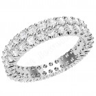 JEW134PL - Platinum 3.75mm wide wedding/dress ring with 2 rows of claw set round brilliant cut diamonds going all the way around.