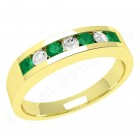 JEM036/9Y - 9ct yellow gold 7 stone emerald and diamond eternity ring