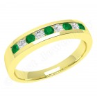 JEM053/9Y - 9ct yellow gold 9 stone emerald and diamond eternity ring