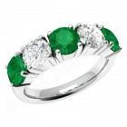 JEM110W - 18ct white gold emerald and diamond claw set 5 stone eternity ring
