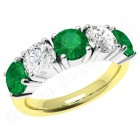 JEM110YW - 18ct yellow and white gold emerald and diamond claw set 5 stone eternity ring